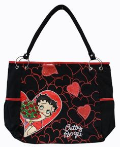 Betty Boop Tattoos, Betty Boop Purses, Black Betty Boop, Animated Cartoon Characters, Handbag Patterns, Large Black, Louis Vuitton, Tote Bag, Diva