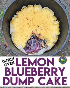 Lemon Blueberry Dump Cake Recipe – Looking for an easy camping dessert recipe that can also be made at home? Try this Lemon Blueberry Dump Cake which is made in the Dutch Oven. It's so simple and delicious! Camping Desserts, Vegetarian Camping Recipes, Camping Dishes, Camping Meals, Camping Tips, Backpacking Recipes, Camping Jokes, Camping Cabins, Camping Essentials