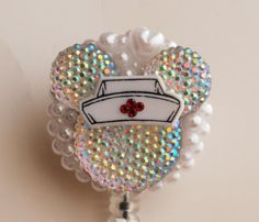 Nurse Minnie Mouse Iridescent Silhouette ID Badge by ZipperedHeart, $12.00