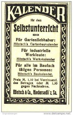Original-Werbung/ Anzeige 1918 - KALENDER FÜR DEN SELBSTUNTERRICHT / HÖNSCH NIEDERSEDLITZ - ca. 45 x 75 mm