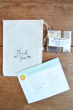Thank You Wedding Favors with Custom Spices, Recipe Cards and Bags - Set of 50