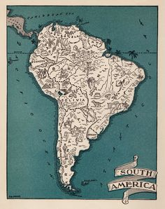 Whimsical SOUTH AMERICA Map of South America 1940s Map Reprint Travel Map Gallery Wall Art Gift for Boyfriend Birthday Gift by OnTheWallPrints on Etsy https://www.etsy.com/listing/265300211/whimsical-south-america-map-of-south Art Mur, Vintage Pictures, Antique Maps, Vintage Maps, Boyfriend Birthday, América Latina, Travel Maps, Travel Photos, South America Map