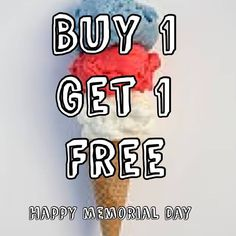 Watch the Parade and enjoy some ICE CREAM and FROZEN YOGURT! All day from 10-7! Happy Memorial Day! #memorialday2016 #buy1get1 #icecream #froyo #chappaqua #10514 #hos #hallofscoops