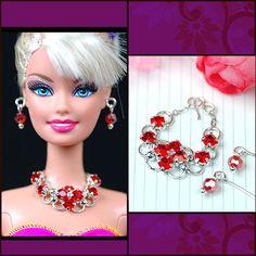 barbie doll jewelry set barbie red rhinestone necklace by sinogem, $3.99