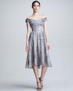 Lace & Pearl Printed Silk Dress by Lela Rose
