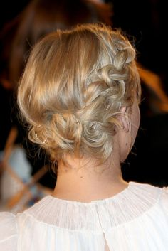 Red carpet hairstyle. Braided updo - Jennifer Lawrence. Celebrity hairstyle.