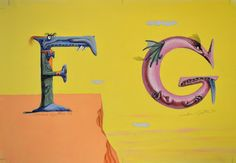"""Letter F and G"" original illustration from The Absolutely Awful Alphabet written and illustrated by Mordicai Gerstein 