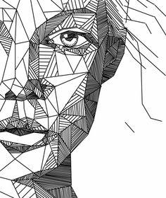 sweet-Drawing-Aspekt-Drawnen von Linien-of-Geometrie-Formen-geometrische - Drawing Sketching Painting Doodle Art Drawing, Pencil Art Drawings, Art Drawings Sketches, Painting & Drawing, Line Drawing Art, Drawing Faces, Line Drawings, Drawing Portraits, Drawing With Pen