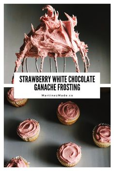 Whipped Ganache with strawberry perfection. Homemade with step by step photos White Chocolate Ganache Frosting, Chocolate Ganche, Whipped Ganache, Sweets Recipes, Just Desserts, Baking Recipes, Strawberry Ganache Recipe, Macaron Filling, White Chocolate Strawberries