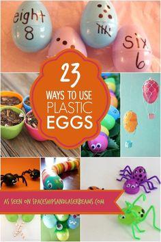 23 Creative Ways To Use Plastic Easter Eggs. Best kids craft ideas! Super fun ideas.