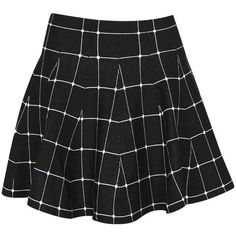 Boohoo Krissy Grid Check Volume Skater Skirt (35 AUD) ❤ liked on Polyvore featuring skirts, bottoms, checkerboard skirt, cotton skirt, flared skirt, checkered skirt and skater skirt