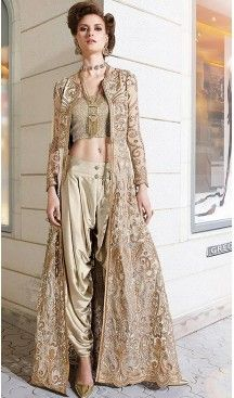 Tan Brown Color Net Designer Dhoti Pant and Kameez Online | FH426767899