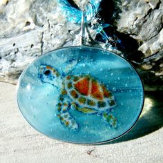 Sea Turttle in the water necklace  Fused glass by ArtoftheMoment, $60.00