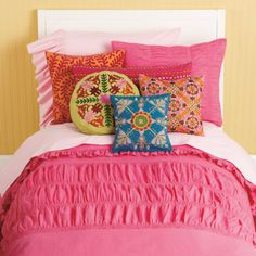 Girls Bedding: Girls Pink Ruched Bedding Set - Twin Hot Pink Rouched Comforter Cover by The Land of Nod $99
