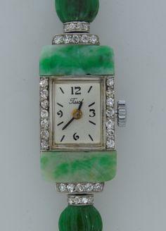 Vintage Jewelry Art Tissot Art Deco Lady's Platinum, Jade and Diamond Bracelet Watch image 3 - Jade Jewelry, Art Deco Jewelry, Modern Jewelry, Antique Watches, Vintage Watches, Antique Jewelry, Vintage Jewelry, Art Deco Watch, Art Watch