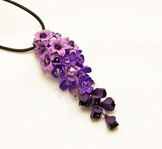 Floral Necklaces Pendant, purple pink flowers polymer clay flower, pendant with flowers, pendant, flower pendant, jewelry, pendant for women
