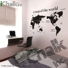 A Map of the World Chalkboard Sticker Wall Decal for by iChalkInc