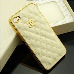 Chanel phone case for iphone! Cute Iphone 5 Cases, Iphone 4, Chanel Phone Case, Cream And Gold, Leather Case, Cell Phone Accessories, Fashion Accessories, Wallet, Unique Jewelry