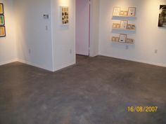 polished concrete floor with gray stain