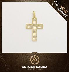 #Diamond #Cross 18Kt Gold  Click for Details  http://antoinesaliba.com/link.php?id=264 #Free_Shipping  Antoine Saliba World of Jewelry   #Beirut #Byblos #Lebanon