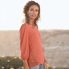Sunrise Lace Duet Tee in Spring 2013 from Sundance on shop.CatalogSpree.com, my personal digital mall.