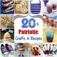 I've gathered together 20 patriotic crafts and recipes of my own and from our Time To Sparkle link Party for Memorial Day and Independence Day. Patriotic Party, Patriotic Crafts, 4th Of July Party, Fourth Of July, Holiday Crafts, Holiday Fun, Holiday Ideas, Christmas Ideas, I Love America