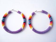 Purple+Native+American+Beaded+Hoop+Earrings+by+LittleRedBear2,+$34.00