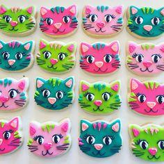 Colorful kitten cookies by Hayleycakes and cookies in Austin tx!