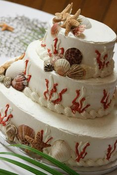 Beach Theme Birthday with shell cake toppers| #birthday #cake #topper