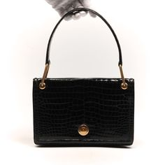 HERMES Vintage Black Shiny Crocodile Piano Bag With Gold Push Clasp