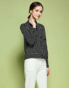 VIPme (VIPSHOP Global) - GUSTAVO ARANGO Black Stripes Turtleneck Spring/Fall Strappy Work Shirts - AdoreWe.com