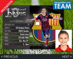 Soccer Invitation Barcelona Invite Football by Printadorable