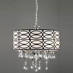 Shop Warehouse of Tiffany Roxanne 17-in W Brown/Chrome Crystal Accent Pendant Light & TRIBECCA HOME Silver Mist Hanging Crystal Drum Shade Chandelier ... azcodes.com
