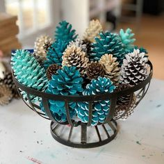 Painted Festive Pinecone Basket/Winter Table Decor/Pinecone Table Decor/Pinecone Centerpiece - Decoration Fireplace Garden art ideas Home accessories Fall Crafts, Holiday Crafts, Home Crafts, Diy And Crafts, Crafts For Kids, Decor Crafts, Kids Diy, Pinecone Centerpiece, Christmas Centerpieces
