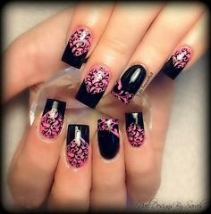 Pink black nail art