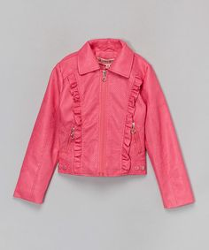 Loving this Hot Pink Ruffle Faux Leather Jacket - Infant, Toddler & Girls on #zulily! #zulilyfinds