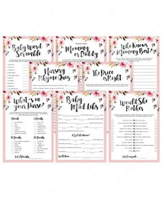 Baby Shower Songs Blush pink baby shower game bundle for girls by LittleSizzle Baby Gender Prediction, Baby Prediction Cards, Baby Shower Songs, Fun Baby Shower Games, Baby Shower Flowers, Floral Baby Shower, Bridal Shower, Wedding Showers, Shower Party