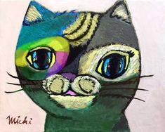 レインボーカラーの顔のユニークな猫・ねこみち Space Cat, My Works, Cat Paintings, Cats, Fictional Characters, Gatos, Kitty Cats, Cat Breeds, Fantasy Characters