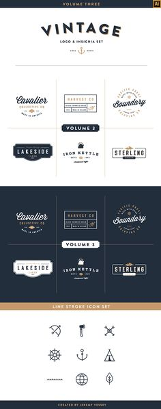 A unique vintage starter kit including 6 Logo / Insignias (AI), 12 Icons (AI), an ABR brush file for photoshop to add texture to your final piece using the Eraser Tool. Fonts are not included but links are provided within the READ ME file.