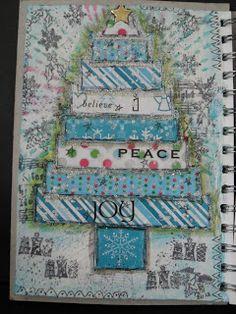 Trish's Artistic Adventures: Tree Art Journal - Christmas Joy Tree