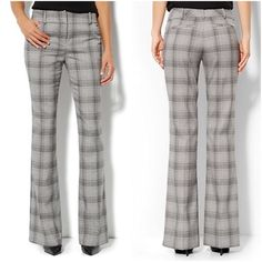 """NWT NY&Co 7th Ave Bootcut Plaid Pants NWT Plaid is a priority this season for sophisticated, statement-making style, and we're loving it on our always polished and professional boot cut pants; features a wider, contoured waistband and universally flattering fit. Zip front with hook-and-eye closure, belt loops, wide waistband, front and rear pockets, rear pocket still sewn shut, bootcut legs, petite  length, sits just below waist line, slimming through hip and thigh, inseam 28"""". Made from 64%…"""