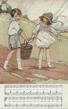 Dorothy Wheeler Nursery Rhymes.  Jack & Jill.  Postcard sent in 1935  #vintage #postcards