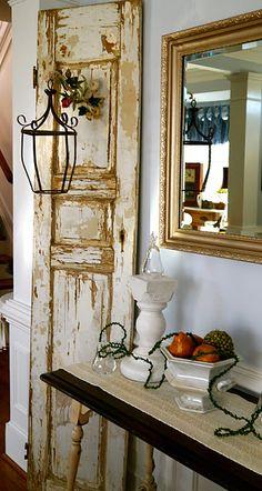 vintage door - idea for hanging birdcages off of vintage doors behind the head table