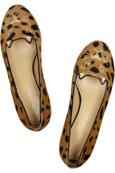 Charlotte Olympia-kitty embroidered calf hair slippers  ;-)