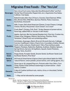 Migraine-Free Foods Handout | A list of foods that are considered to be safe on the migraine trigger avoidance diet