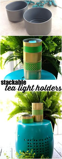 Stackable tea light holder from tuna cans! #diycraft #tincans #recycledtincans