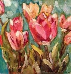 "Daily Paintworks - ""Tulips everywhere"" - Original Fine Art for Sale - © Jean Delaney"