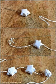 DIY Origami Lucky Star Garland:  Stars Step 6   Hello Little Home #Holidays #ChristmasDecorations #Christmas