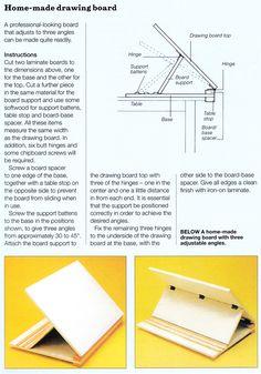 Home made drawing board, 3 adjustable angles. http://craftside.typepad.com/.a/6a00e55007f59388340191049e49bd970c-pi