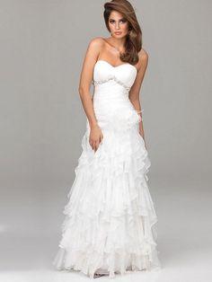 White Mermaid/Trumpet Corset Long/Floor-length Chiffon Prom Dress PD0869